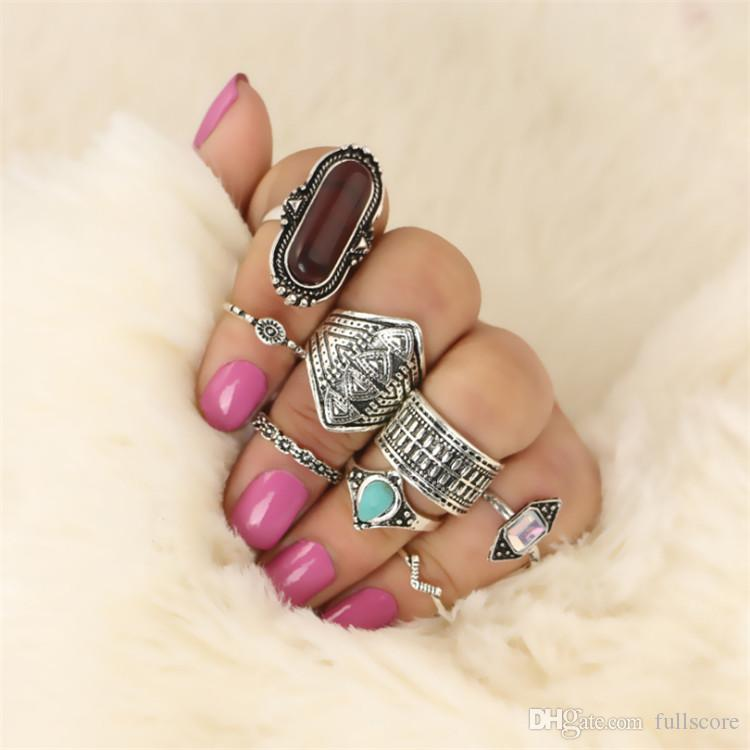 Fashion 8 PCS/Set Vintage Ring Set Created Stone Bullet Width Flower Texture Finger Knuckle Rings Women Bohemian Jewelry