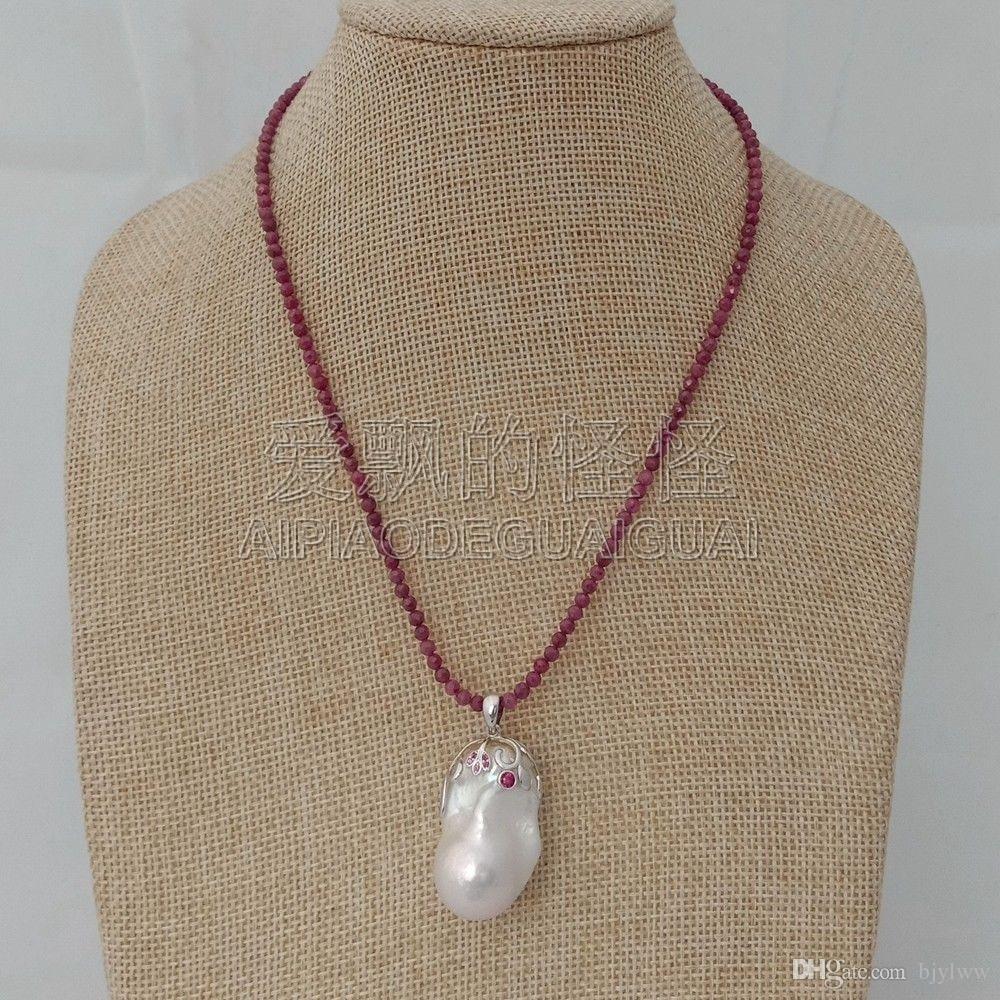 N011815 Pendente Keshi in argento con collana sfaccettata naturale da 16 ''