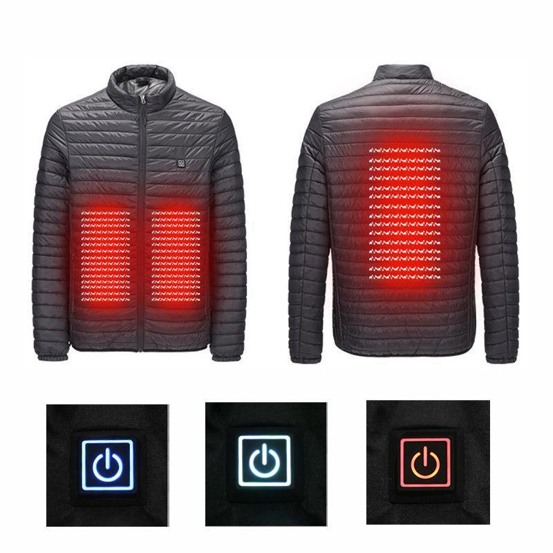 Nouvelle inscription 2018 USB chauffage infrarouge hiver hommes bas Parkas vestes mode homme à capuche épais chaud vêtements pardessus manteau rembourré