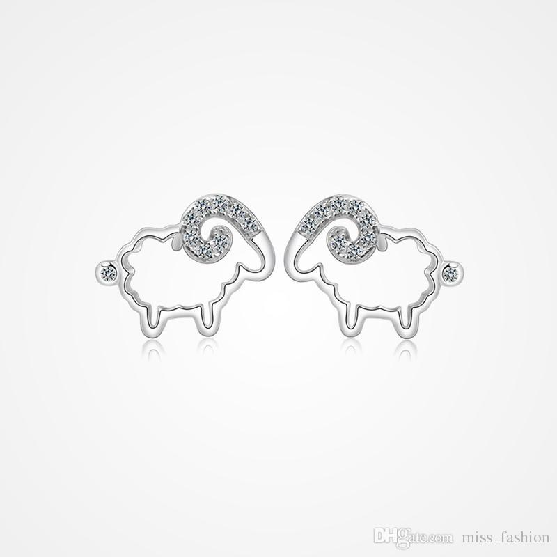 Hot brincos de prata jóias de cristal suíço do parafuso prisioneiro brincos de ovelha gordo em forma de encantos étnicos do vintage