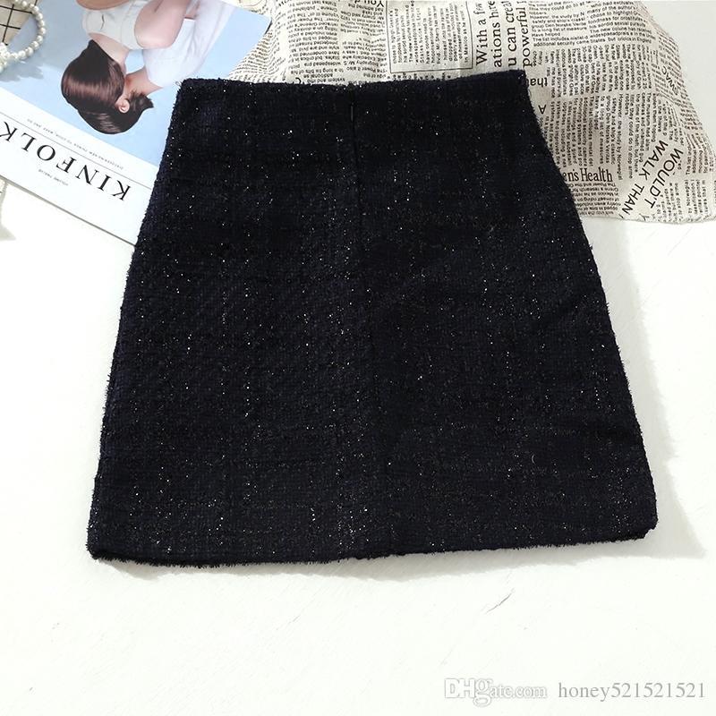 34cfe6d1c6d85 Großhandel Frauen Neue Design Hohe Taille A Linie Knöpfe Patchwork Lurex  Tweed Wollene Verdickung Kurzen Rock Plus Größe SML Von Honey521521521, ...