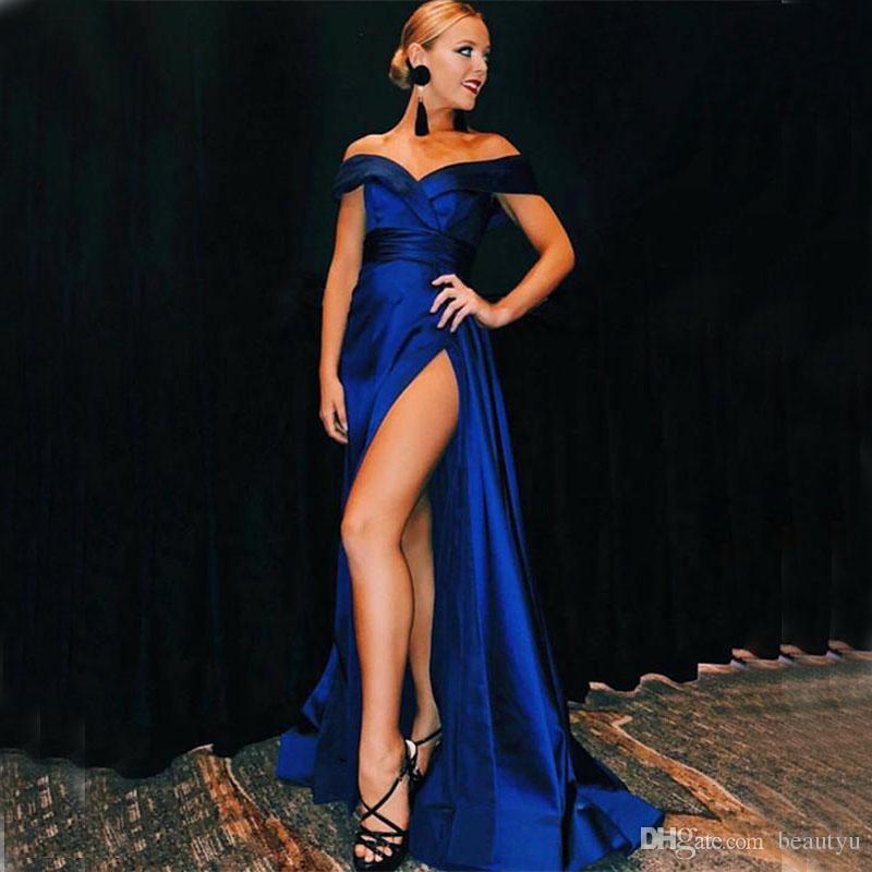 Royal Tafeta Línea Alto Sexy Blue Formal De Compre Una Split Elegante Hombro Fiesta Largos Noche Vestidos QBeCorWdx