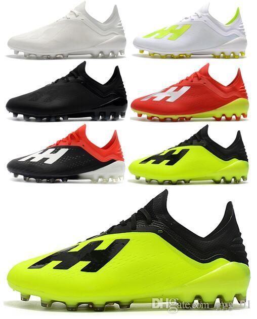 Ücretsiz Kargo 2018 Yeni Stil Erkek Futbol Ayakkabı X 18.1 AG Düşük Ayak Bileği Futbol Cleats Speedmesh X18.1 AG Messi Hız Mesh Açık Futbol Boots