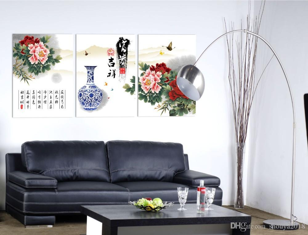 Free shipping 3 piece canvas wall art Peony wall painting Pink peonies Chinese art Blue and white porcelain painting