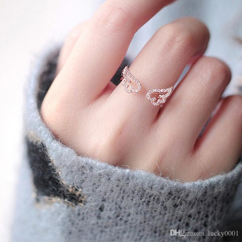 Adjustable Angel Wings Ring Micro Pave Zircon Gold-Color Rings For Women Fashion rings Jewelry bague femme Female Gifts