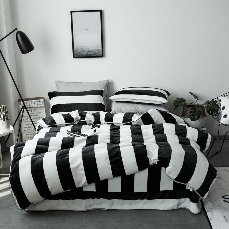 IvaRose black white stripe Thick Fleece fabric queen size warm winter bedding set duvet cover bed sheet pillow cases 4pcs kit