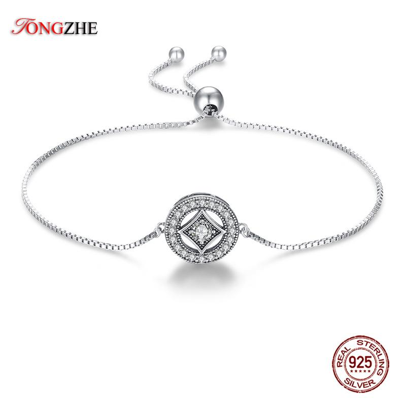 TONGZHE Punk Vintage Allure Women 925 Sterling Silver Bracelet with Bead Crystal Stones  Wedding Engagement Jewelry Gift