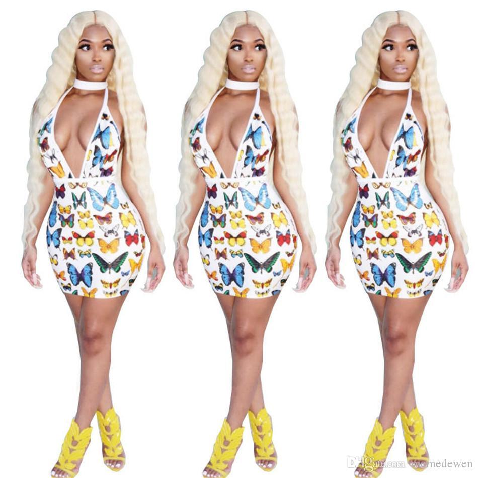 Летняя мода Nightclub Сексуальное платье Холтер Глубокое V-образное вырезывающее платье Backless Butterfly Print Платья NB-167