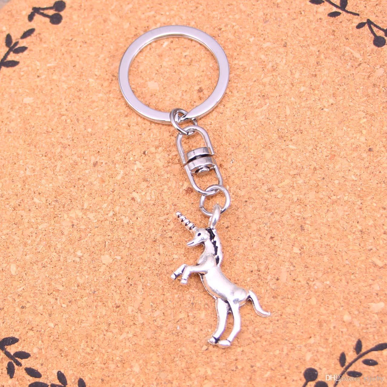 Vintage unicorn horse Key Rings Fashion Car Keychain Silver Color Metal Key Chains Accessory
