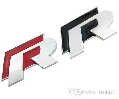 Araba Styling Metal 3D Krom R Logo Rozet amblem Yarış araba Sticker VW Golf 5 6 7 Touareg Tiguan Passat B6 B7 Jetta Sharan