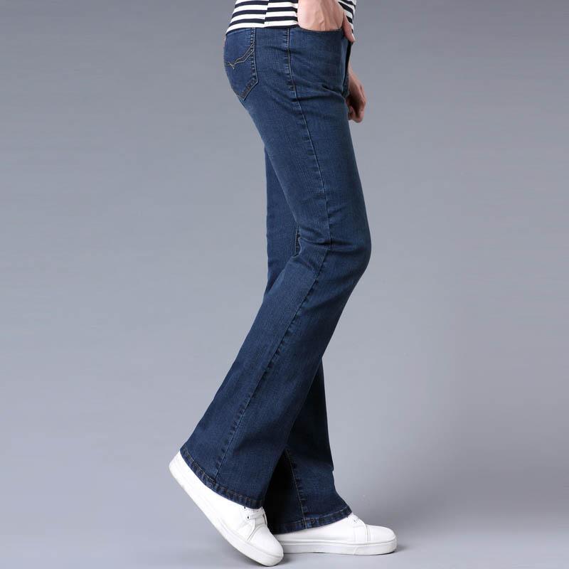 Acquista Jeans Da Uomo Tradizionali Bootcut Gamba Slim Fit Jeans Leggermente Svasati Blu Nero Designer Maschile Pantaloni Classici A Zampa D'elefante