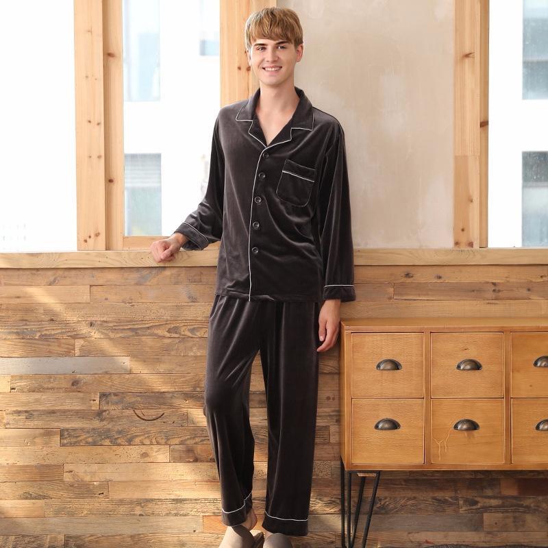 золотой бархат пижамы Зимние мужские брюки с длинными рукавами из двух частей теплый дом службы