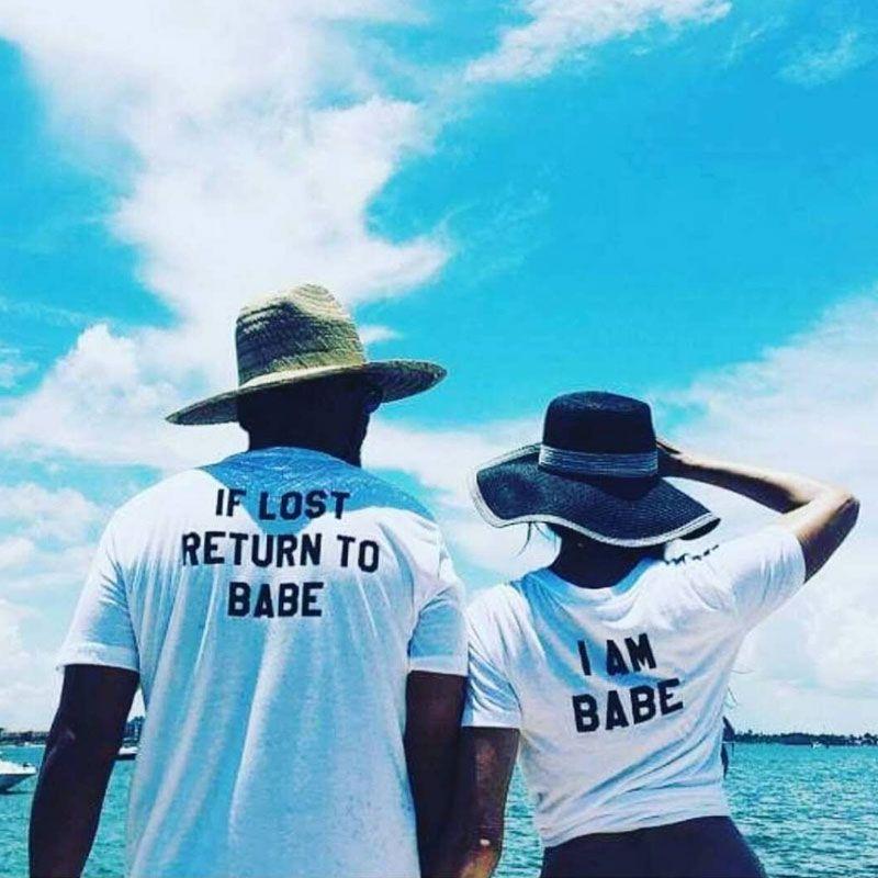 2018 Summer Harajuku Couple Matching T Shirt If Lost Return To Babe I Am Babe Leer Men Women Lovers Leers Printing T-shirt