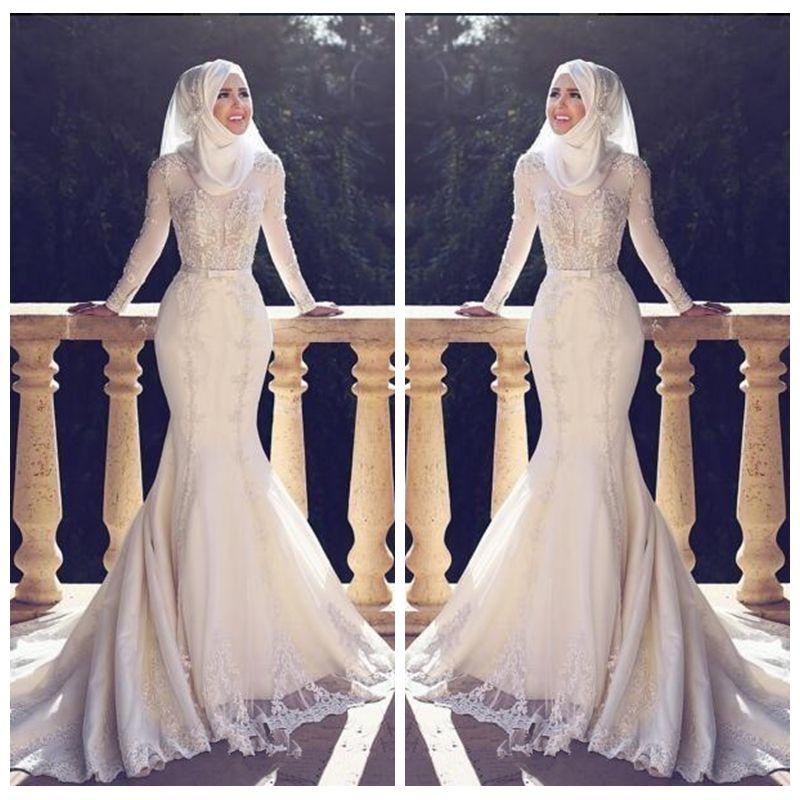 2021 Modest Slim Fishtail Arabic Style Sirena Abiti da sposa maniche lunghe Applique in pizzo O Collo Hijab Mermaid Abiti da sposa lunghi musulmani