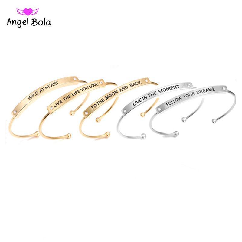 newest quotes mantra bracelets open cuff bangle fashion women