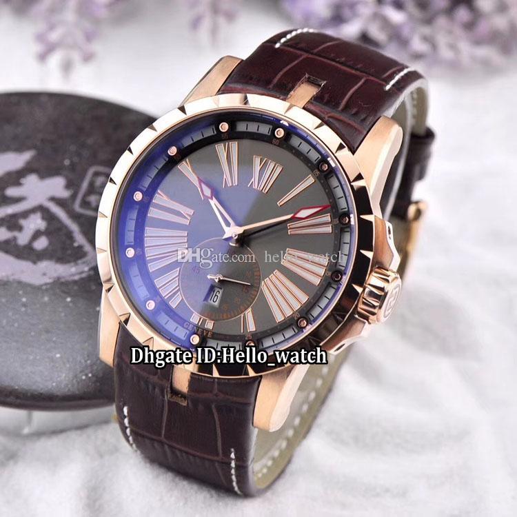 Nova marca Excalibur Calibre 42 Data RDDBEX0566 Cinza Dial Mens Automatic Watch Rose Caso de Ouro pulseira De Couro Marrom de Alta Qualidade Gents Relógios