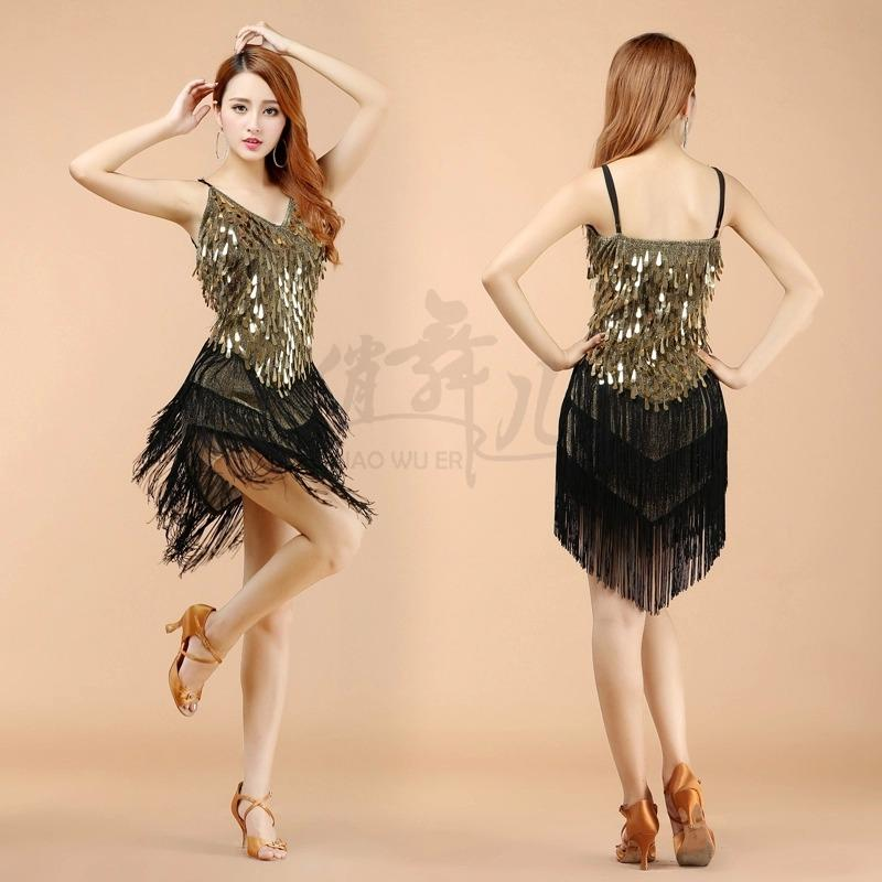 Free-shipping New Sequin Fringes Latin dance Skirt Sexy stage Performance Adult dancing Ballroom Suit Dresss