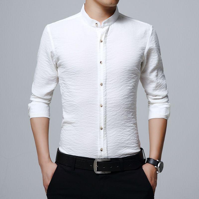 2018 Nuevos Slim Fit Hombres Camisas de manga larga Moda Hombres Ropa Mencamisa Masculina Camisa Formal Social Plus Size Camisas 21