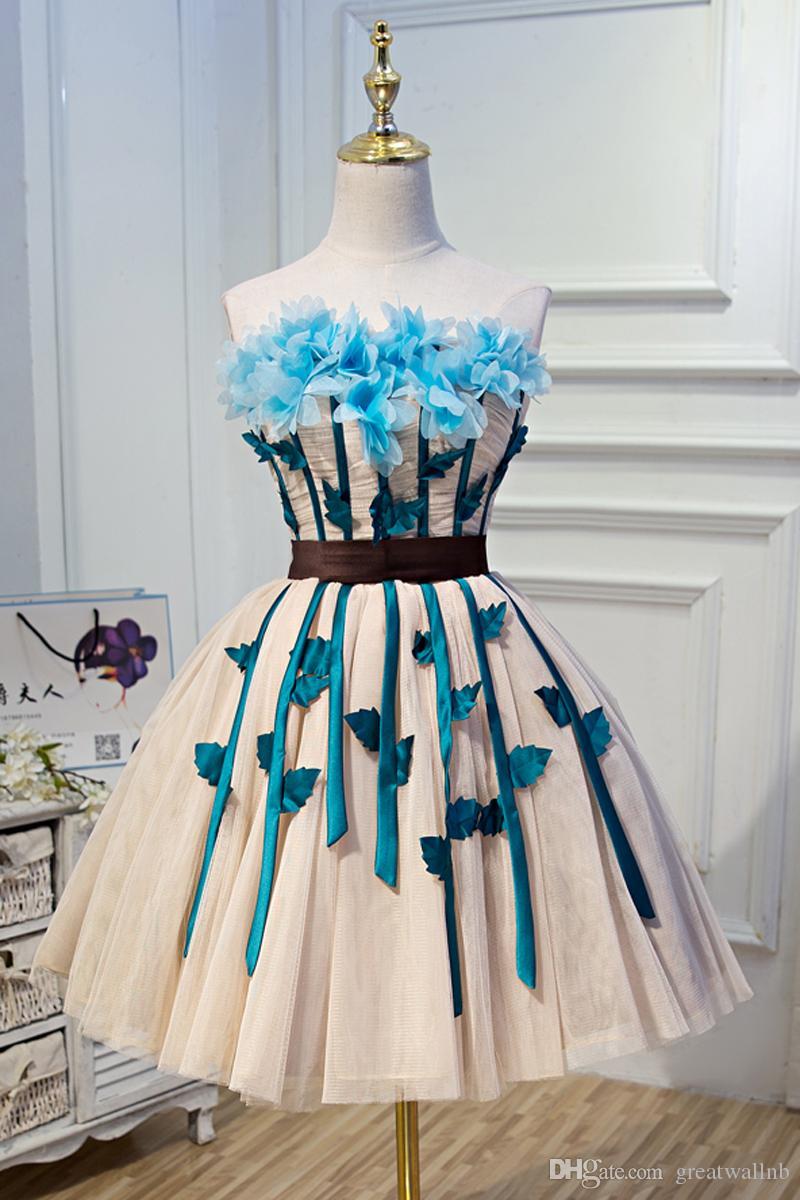 Freeship vena 3d hecho a mano flor azul cintura arco de hadas vestido de baile / etapa de rendimiento / stuido / tutu vestido / puede tamaño de aduanas