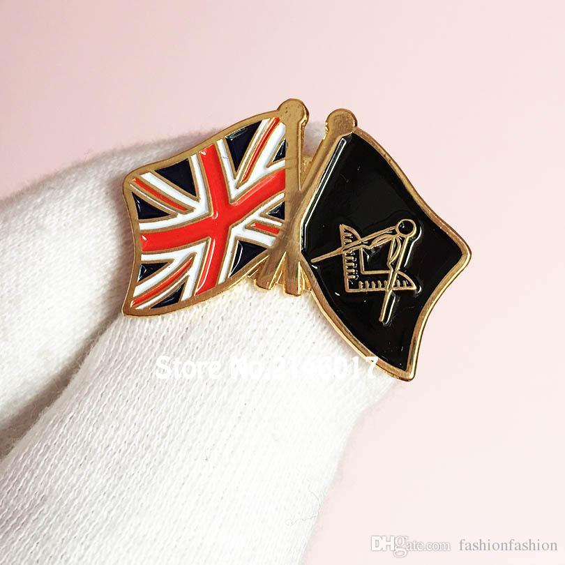 USA Flag and Masonic Flag Freemason Friendship Crossiing Lapel Hat Pin
