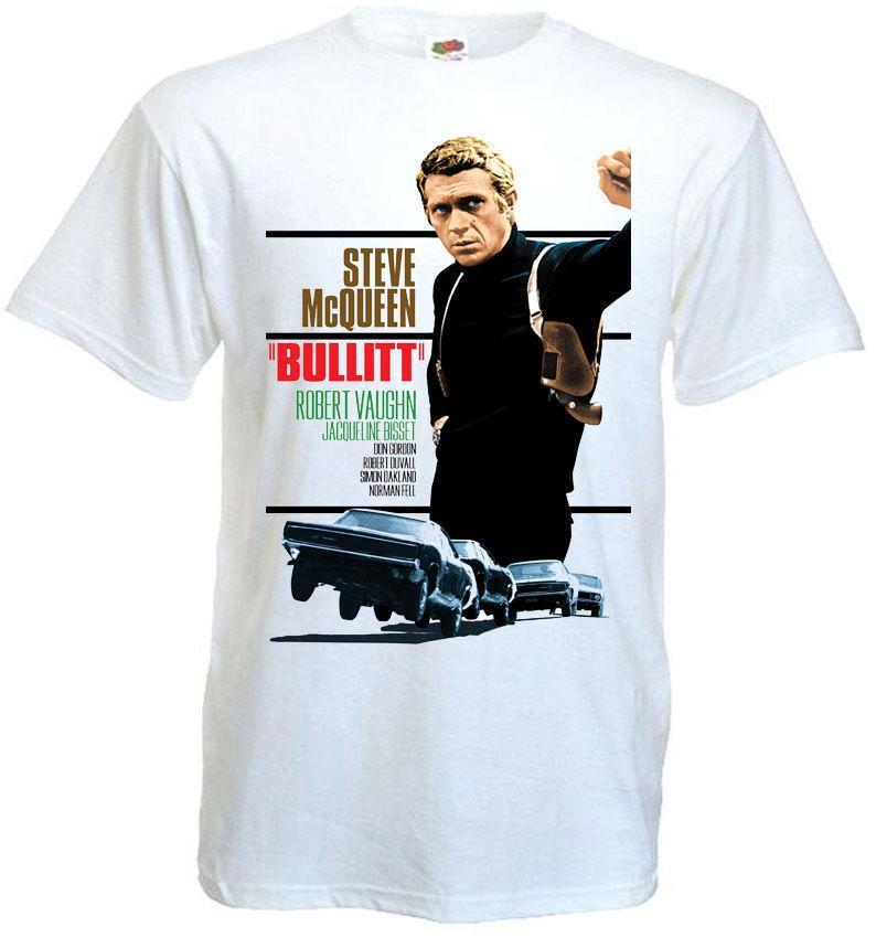 Bullit T Shirt Blanc Toutes les tailles Tee-shirt manches courtes d'été Mode Nouveau Design Coton T-shirt Homme Création