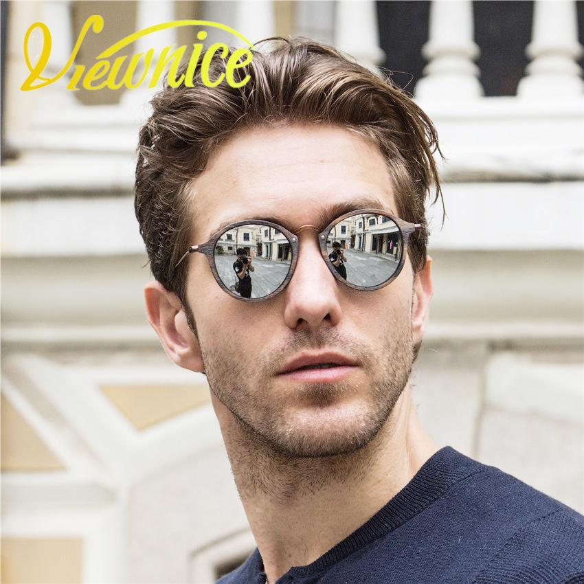 Viewnice Womens Sonnenbrille oculos feminino Männer Vintage runde hölzerne Eyewear Retro Fashion Sonnenbrille Metall Brand Designer 2447 D18102305