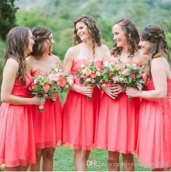 Watermelon Chiffon Short Bridesmaid Dresses Country Sweetheart Sleevelss Zip Back Maid Of Honor Party Gown 2017