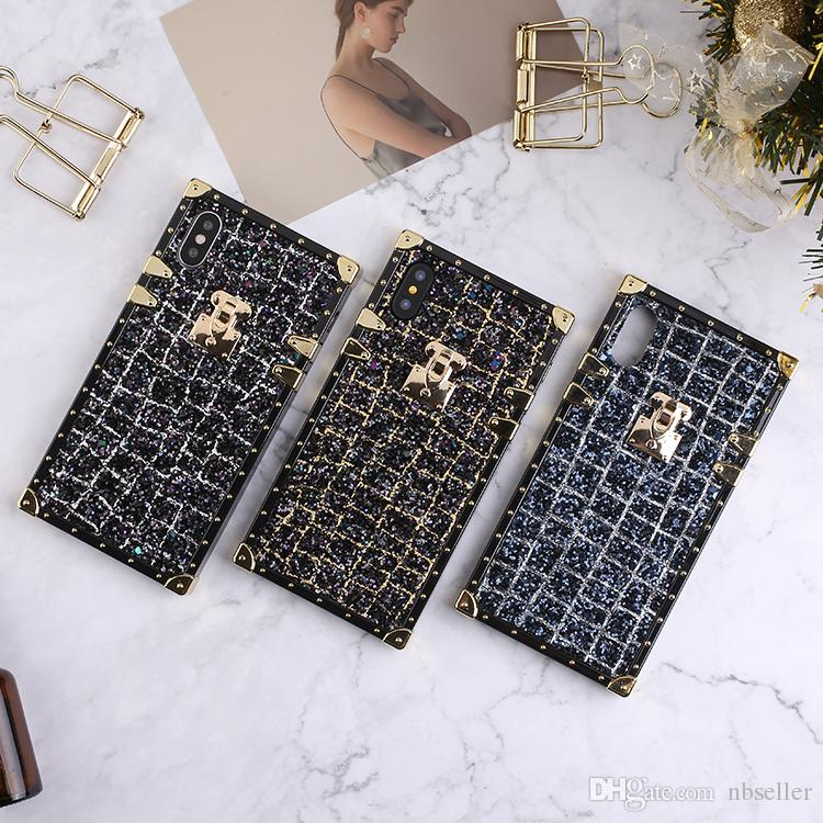 Luxury glitter bling fashion show party BOX TPU Phone Case Hybrid black gold Back case cover for iphone X 7 8 plus 6 6plus