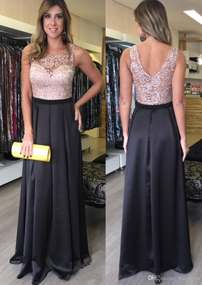 Pink Black Modest Boat Neck Top Lace Evening Dresses V Back Sash Column Prom Party Dress For Women Garden Cheap Floor Length Pageant