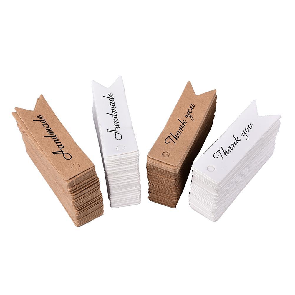 Gracias carta en blanco del papel de Kraft Papel Precio etiqueta colgante hecho a mano regalo Marcadores Negro Cuelgue papel de etiquetas de Navidad de la etiqueta 200pcs / bag