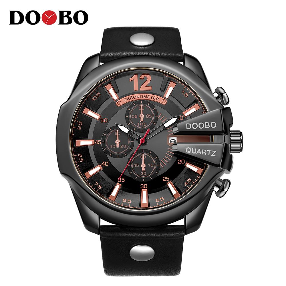 DOOBO 8176 Hommes Montres Top Homme Montre Mode bracelet en cuir décontractée en plein air Sport Montre-bracelet à grand cadran Dropship