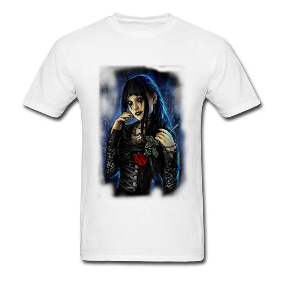 Gothic Beautiful Girl Men T-Shirt Fashion Hip Hop Rock Horror Evil Demon Tshirt Red Rose Men's Hipster T Shirt Movie