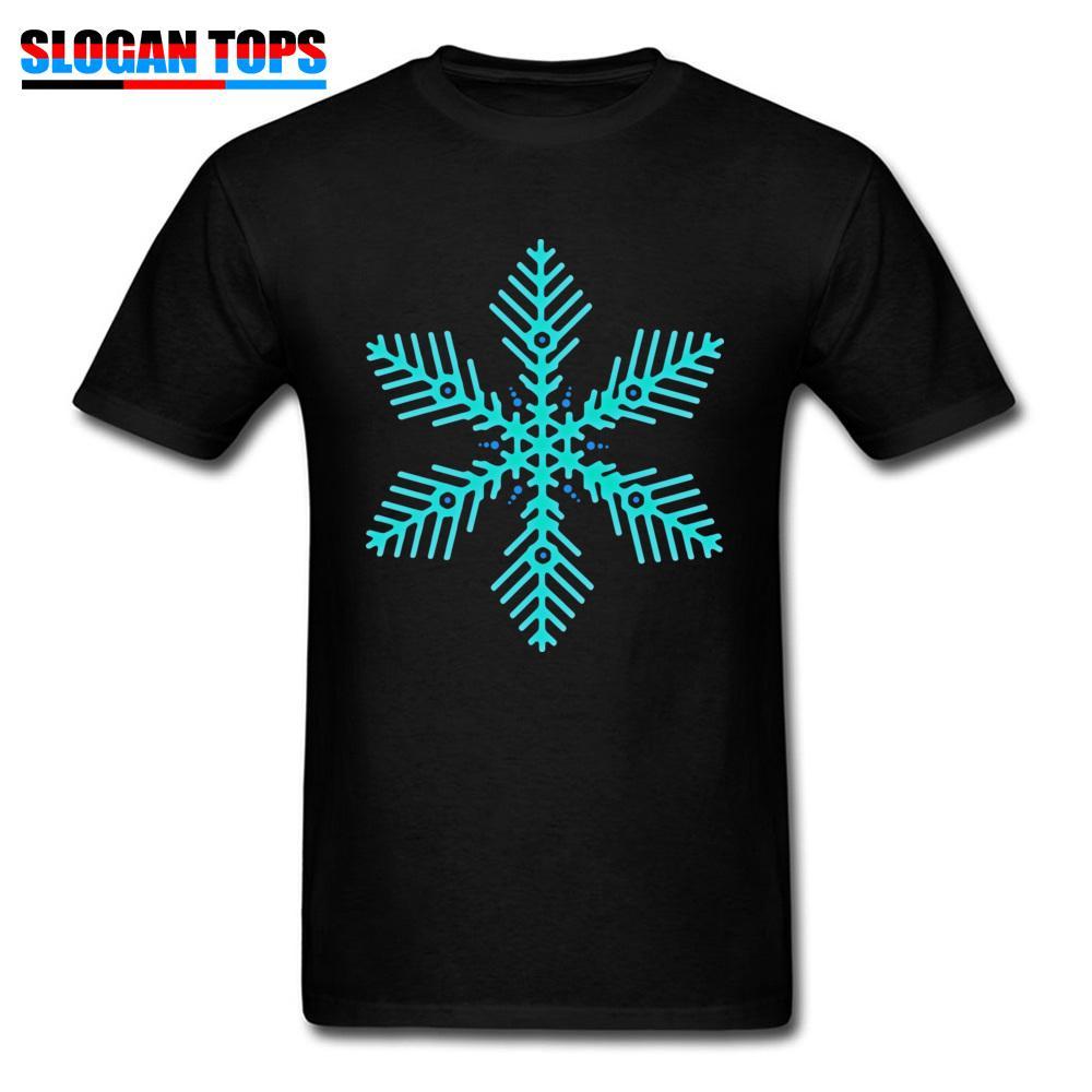 Hombres camisetas Geek Tops Camiseta de calidad superior Copo de nieve Imprimir camisetas Turquesa Turquesa Camiseta Core Algodón Moda ropa de Navidad