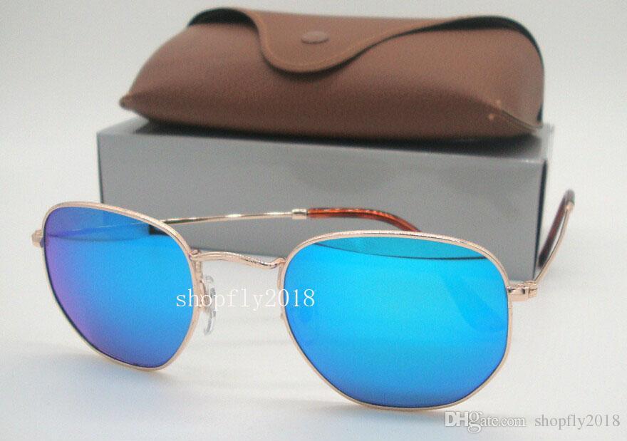 1Pair Mens Womens Hexagonal Metal Sunglasses Irregular Retro Driving Sun Glasses Gold Green Colorful Mirror 51mm Glass Lens With Brown Case