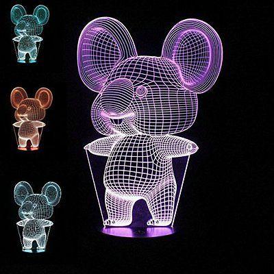 3D Night Light Animal Koala LED USB 7 Color Change Table Lamp Xmas Toy Gift Home Decor Acrylic Light Fixtures #R87
