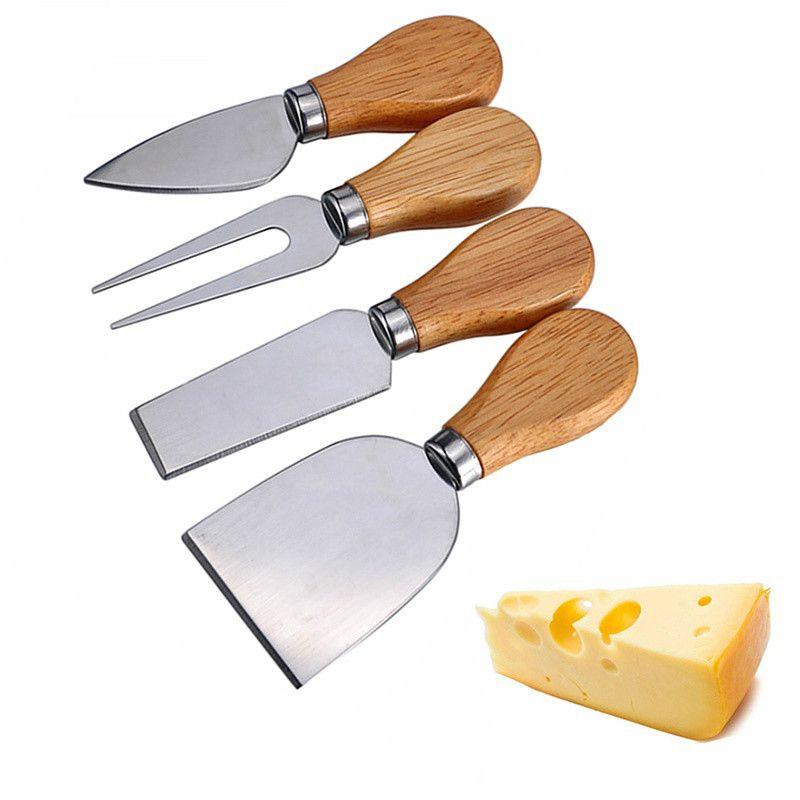 4 Unids / set Cuchillo Cortador de Cuchillo de Queso Cortador con Mango De Madera 6-6.8 cm Rallador de Mantequilla Herramienta de Cocina Para El Hogar Suministros de La Hornada