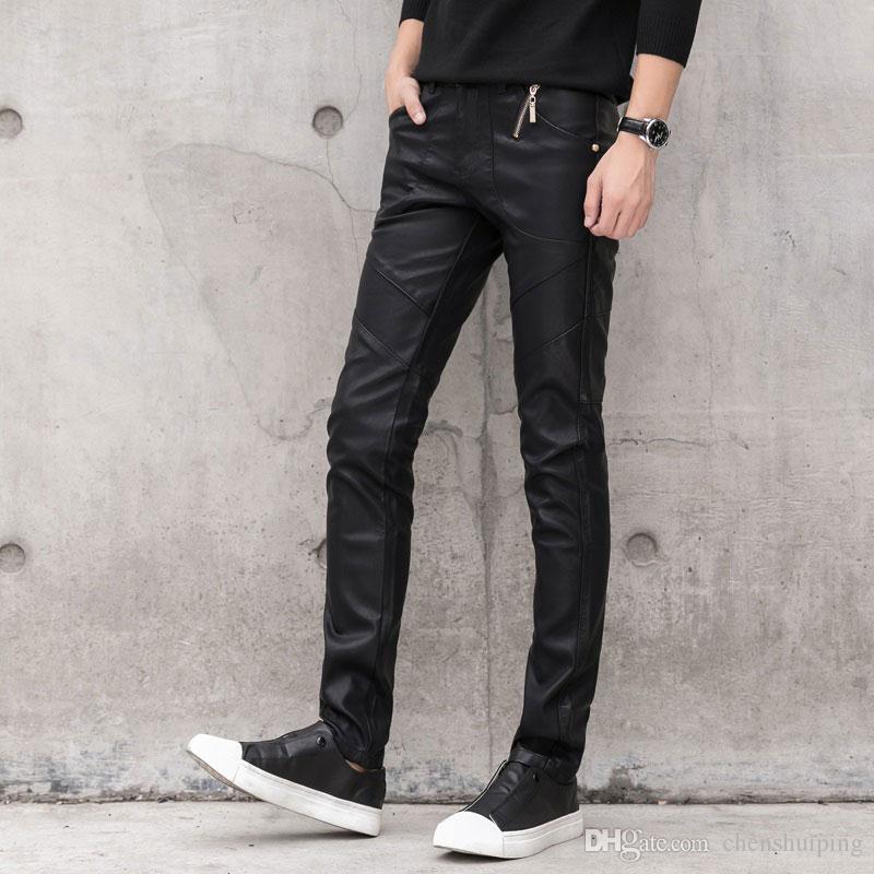 Vente chaude nouvelle mode cuir PU Skinny Slim Fit Casual hommes cool Pant Pant Pantalon Vêtements pour hommes
