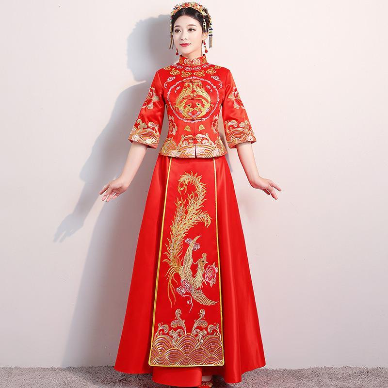 Çin usulü gelin Nakış cheongsam düğün kostüm gece elbisesi gösterisi giyim ince Phoenix Qipao Elbiseler