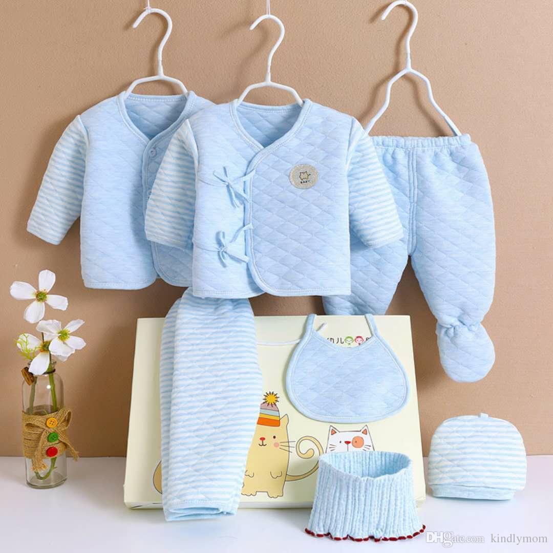 e92963459 Newborn Outfits 7/Set Summer Long Sleeve Cotton Newborn Baby Clothes Set  Outfits Newborn Boy Sleepers Winter Sets