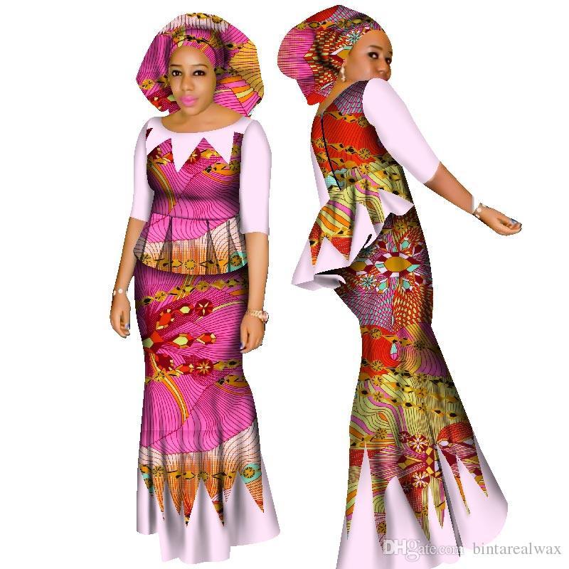 BRW dashiki الأفريقية المحاصيل الأعلى والتنورة مجموعة الملابس الأفريقية للنساء القطن ruched اثنان قطعة تنورة مجموعة الشحن رئيس وشاح WY1437