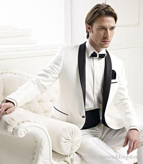 2018 Men Suits Blazer Groomsmen Shawl Satin Lapel Groom Tailored Tuxedo White Jacket Black Pants Mens Suits Wedding Best Man Terno Masculino