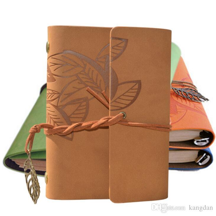 fogli d'epoca diario notepad Pu copertura in pelle foglia decorazione notebook stazionario spirali carta kraft notebook carino diario di viaggio libri