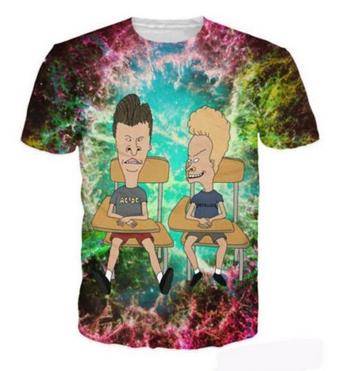 La más nueva moda para hombre / mujer Beavis y Butthead Estilo de verano Divertido 3D Imprimir Casual Camiseta Tops Tamaño Plus ZGX020