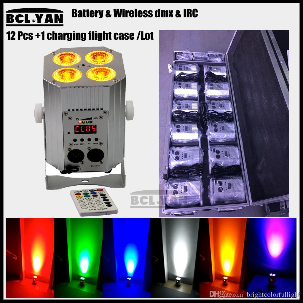 Good price china wireless dmx led par light 4pcs*18W rgbwa uv 6 in1 battery flat led par can for stage night club 12XLot