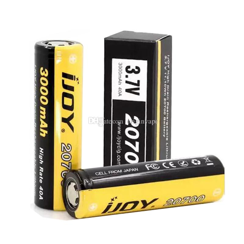 Authentic IJOY 20700 Lithium Battery 3000mAh Rechargeable Lithium Batteries 40A Flat Top Battery for Ijoy Captain PD270 Gene Mod