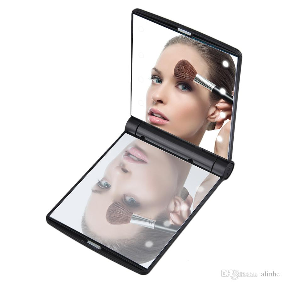 8Led Makeup Mirror Lady Makeup Cosmetic Folding Portable Compact Pocket Mirror 8 LED Lights Lamps DHL Free Shipping