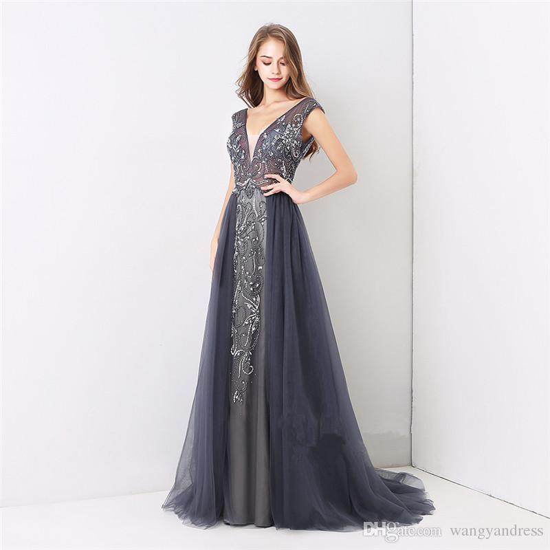 Compre Elegantes Vestidos De Gala Formales De Noche 2018 Nuevos Trajes De Baile De Tul De Color Azul Marino Vestidos Personalizados De Demoiselle