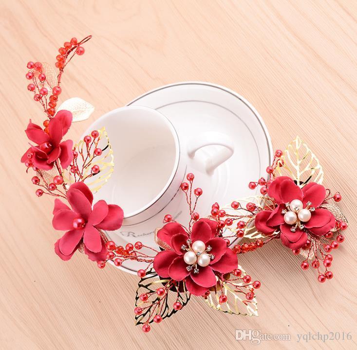Teste nuziali, cristalli, fiori di prugna, copricapo da sposa rossi, perline fatte a mano, accessori, accessori per abiti Qipao