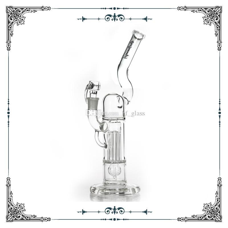 """14 """"Souveränität Glas Pint Größe Natarm Hals Säule mit klarer Brücke Ridded Imperial Perc Bongs 18mm Percolator Glas Bongs Bubbler Oil Rigs"""