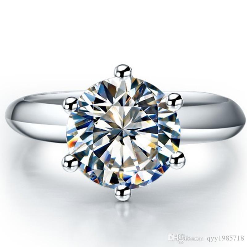 الجملة العلامة التجارية الكلاسيكية ستار 0.6CT خاتم الخطوبة للنساء الاصطناعية الماس 925 فضة خاتم الزواج 18K مطلية بالذهب